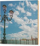 Street Lamp At Venice, Italy Wood Print
