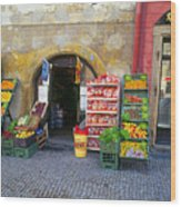 Street Market, Prague Wood Print