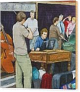 Street Musicians In Dublin Wood Print by Brenda Williams