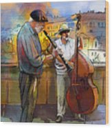 Street Musicians In Prague In The Czech Republic 01 Wood Print