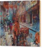 Street Of Nepal Colored  Wood Print