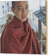 Street Portrait Of A Young Monk Wood Print