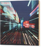 Street Scene In Tokyos Ginza District Wood Print