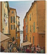 Street Scene In Villefranche Wood Print