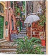 Street Scene Monterosso Italy Dsc02470 Wood Print