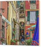 Street Scene Vernazza Italy Dsc02651 Wood Print