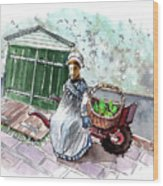 Street Seller In Helsingor Wood Print