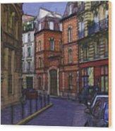 Street View Of Paris Wood Print