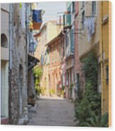 Street With Sunshine In Villefranche-sur-mer Wood Print