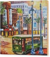 Streetcar On Canal Street Wood Print