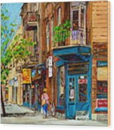 Streets Of Montreal Over 500 Prints Available By Montreal Cityscene Specialist Carole Spandau Wood Print