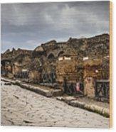Streets Of Pompeii - 1a Wood Print