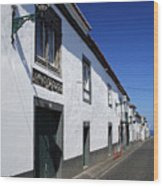 Streets Of Ribeira Grande Wood Print