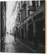 Streets Of Rome 2 Black And White Wood Print