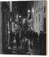 Streets Of Rome At Night  Wood Print