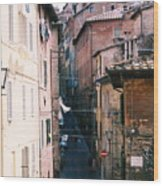 Streets Of Siena Photograph Wood Print