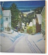 Streets Of Snow Wood Print