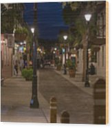 Streets Of St. Augustine At Night Wood Print