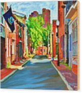 Streetscape In Federal Hill Wood Print by Stephen Younts