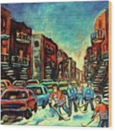 Streetscenes Of Montreal Hockey Paintings By Montreal Cityscene Specialist Carole Spandau Wood Print