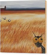 Stressie Cat And Crows In The Hay Fields Wood Print