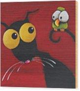 Stressiecat And The Bird Wood Print