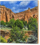 Striated Mountains Wood Print