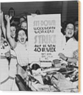 Striking Women Employees Of Woolworths Wood Print