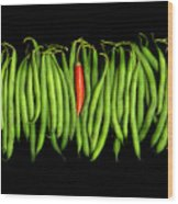 Stringbeans And Chilli Wood Print