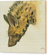 Striped Hyena Animal Art Wood Print