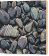 Striped Pebbles Wood Print