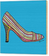 Striped Pump Shoe Wood Print