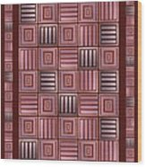 Striped Squares On A Brown Background Wood Print