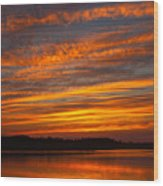 Striped Sunset Wood Print