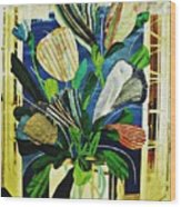 Striped Tulips At The Old Apartment Wood Print