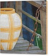 Striped Vase Wood Print