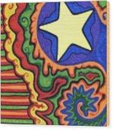 Stripes And Star Wood Print