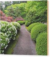 Stroling Garden Path In Japanese Garden Wood Print