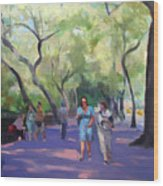 Strolling In Central Park Wood Print