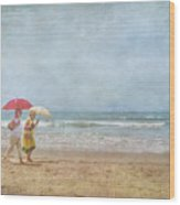 Strolling On The Beach Wood Print