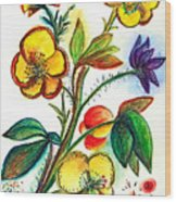 Strong Yellow Flowers Wood Print