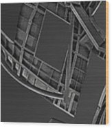 Structure - Center For Brain Health - Las Vegas - Black And White Wood Print