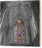 Structures Of St. Patrick Cathedral Bw Wood Print