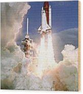 Sts-27, Space Shuttle Atlantis Launch Wood Print