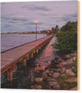 Stuart Riverwalk Sunset Wood Print