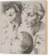 Studies Of Heads Anonimo, Blooteling Abraham Wood Print