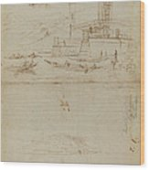 Studies Of Lago Maggiore And And The Entrance To A Palazzo Wood Print