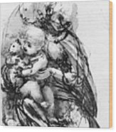 Study For A Madonna With A Cat Wood Print