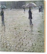 Study For A Paris Street Rainy Day Wood Print by Gustave Caillebotte