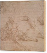 Study For The Figure Of Diogenes In The School Of Athens Wood Print